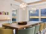 luxury holiday villa dining room with sea view